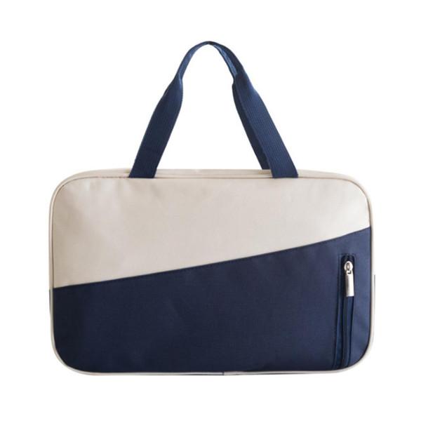 Big Capacity Dry Wet Separation Swimming Bags Beach Swim Tote Bag Waterproof Handbag - Navy Blue + Beige