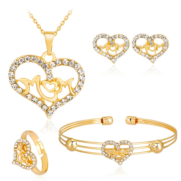 HC Fashion Gold Color Heart Kids Jewelry Crystal Necklace Bracelet 4 Pcs Little Girl Jewelry Cute Children's Day Accessories T