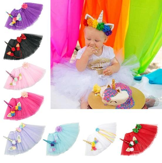 9 Color Girls INS Unicorn TUTU skirt +hair accessory sets 2018 New summer lace Bow flower decoration short skirt kids dress 1~6years B001