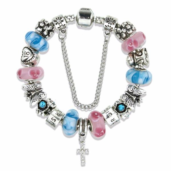 Endless Charms Bracelet & Bangle Women gender Custom new design Cross pendant & 2 color glass bead bracelet for gift KM154