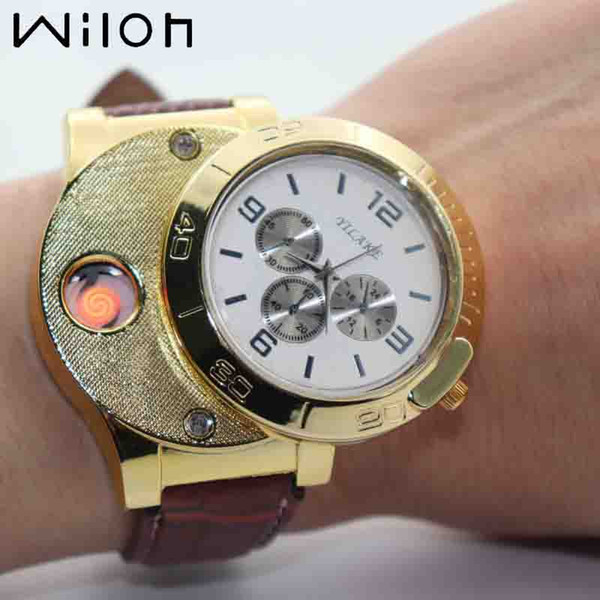 2018 new Lighter Watch for Men Fashion sports Quartz Watches USB charging luxury Gold leather Flameless Cigarette Lighter F781