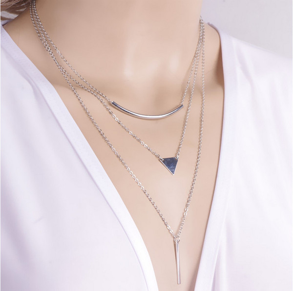 Europe And America Jewelry Fashion Street Shooting Bend Pipe Triangle Sequins Metal Strip Combination Necklace NK080