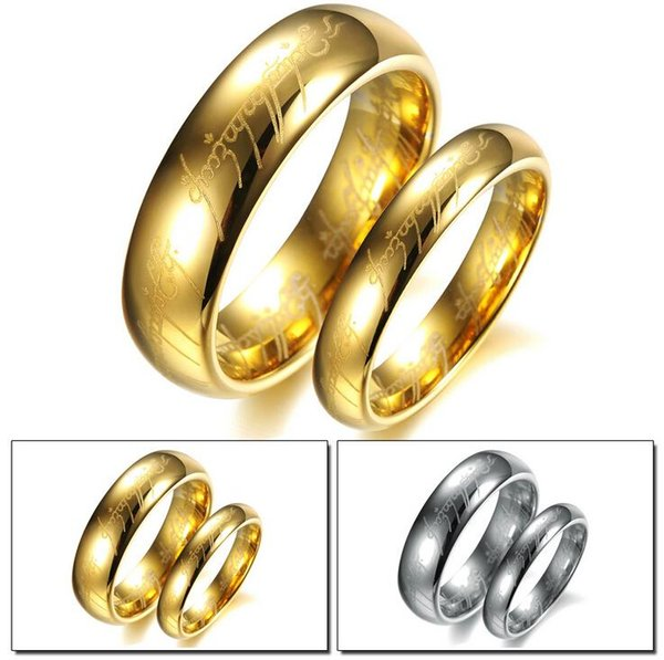 Free Shipping US Size 5 to10 The Tungsten Carbide One Ring of Power Width 6mm 18kGP ring