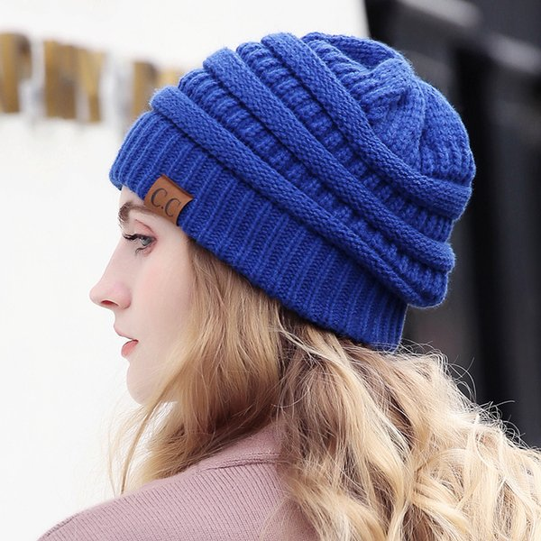 2de2ede19a7 Drop Shipping CC Beanie Women Cap Hat Skully Trendy Warm Chunky Soft  Stretch Cable Knit Slouchy Beanie Winter Hats Ski Cap 2018