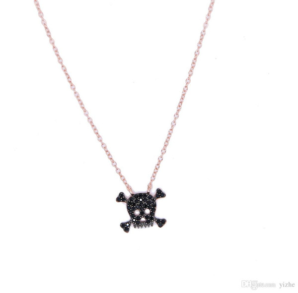 factory wholesale drop shipping stock pave black cubic zirconia rose gold 925 sterling silver ladies women skull necklace