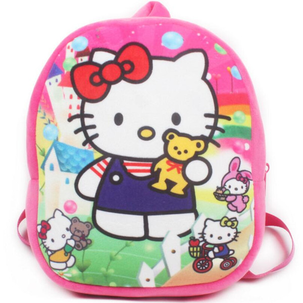 3cd495dc90 Cute baby plush backpack cartoon hello kitty children s mini school bag for  kindergarten girl boys student schoolbag