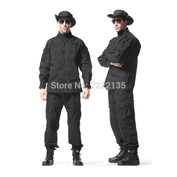 US Army Tactical Camouflage Combat Uniform Camo BDU Men Clothing Set Outdoor Hunting suits BLACK S-XXXL
