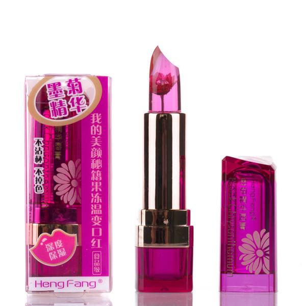 2018 Marca HengFang Makeup Flower Lipstick Cambio de color en la temperatura Pintalabios de grado alimenticio Blackish Chrysanthemum Moisturizing
