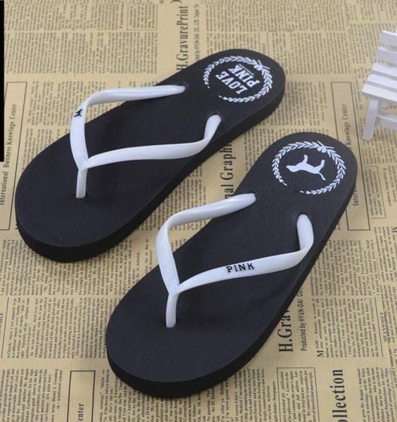 5 Colors Girls Pink Flip Flops Love Pink Sandals Pink Letter Beach Slippers Shoes Summer Soft Beach Slipper 2pcs/pair Free Ship