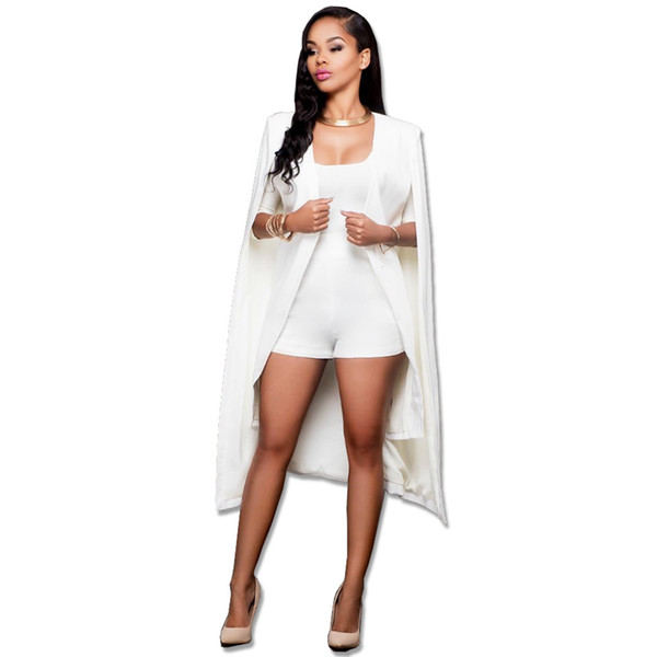2018 Women Fashion Blazers and Jackets White Black Slim Long Cape Blazer Coat Double Breasted OL Coat Outwear Oversized S-4XL