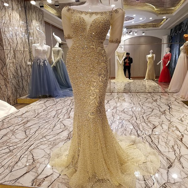 LS73273 Shiny champagne vestidos de fiesta de cristal con cremallera volver organza de lujo sexy abalorios sirena noche vestido de fiesta fotos reales