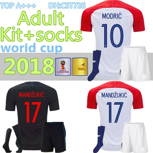 2018 Diseñado para el equipo adulto de casa + calcetines Soccer Jersey MODRIC PERISIC RAKITIC MANDZUKIC SRNA KOVACIC KALINIC Camiseta de fútbol Hrvatska