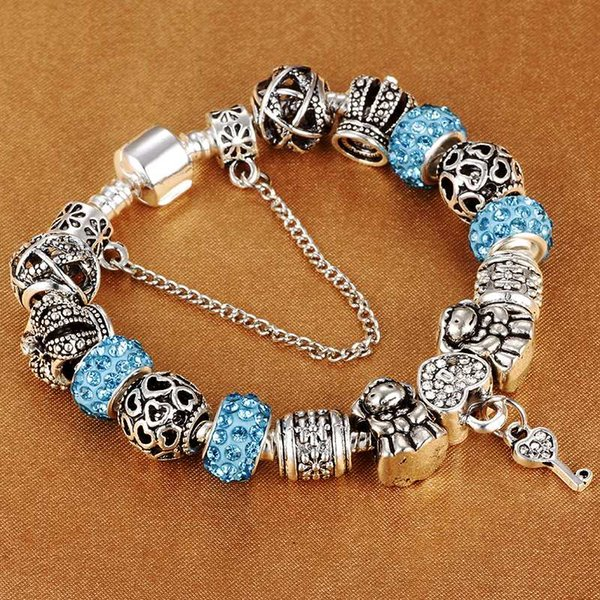 Authentic Silver Plated 925 Crown key Crystal Heart Charm Beads Brand Bracelet Women DIY Jewelry