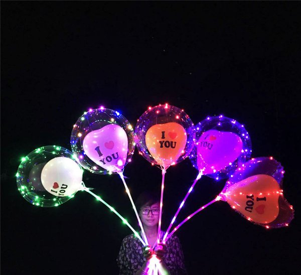 Luminous LED Bobo Balloons Transparent i love u Heart Shape Colored Lighting Balloons 20 inch Wedding Party Decorations Holiday Supply Best