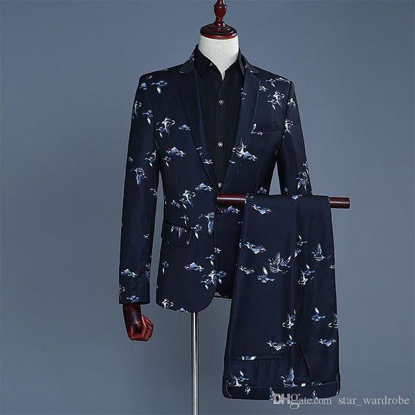 Wholesale 2018 New Men flip-up Suit Male Small bird Pattern Blazer Nightclub Bar Singers Stage Show Dress Jacket Costumes S-2XL