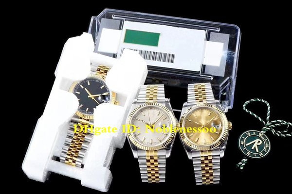 3 Color New V2 Version 904L Steel Luxury Mens DATEJUST 116233 Yellow Gold Jubilee Black Index Dial 36MM ETA 3135 Automatic Watch