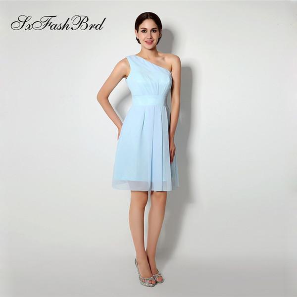 Fashion Elegant One Shoulder A Line Mini Short Light Sky Blue Chiffon Party Formal Evening Dresses for Women Prom Dress