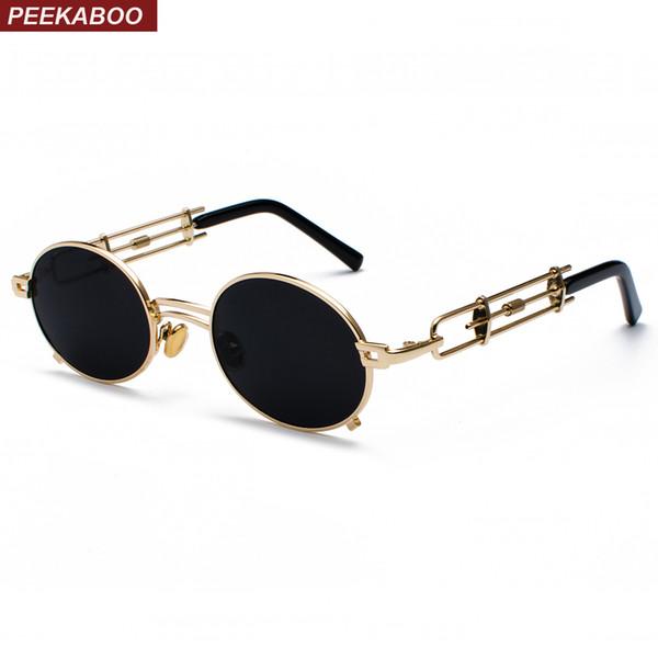 Peekaboo retro steampunk gafas de sol hombres ronda vintage 2018 marco de metal oro negro oval gafas de sol para las mujeres rojo regalo masculino