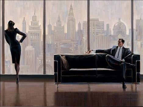 Pensive New York Brent Lynch Free Shipping,Hand-painted & HD Print Portrait Art Oil painting On Canvas,Multi sizes /Frame Option p341