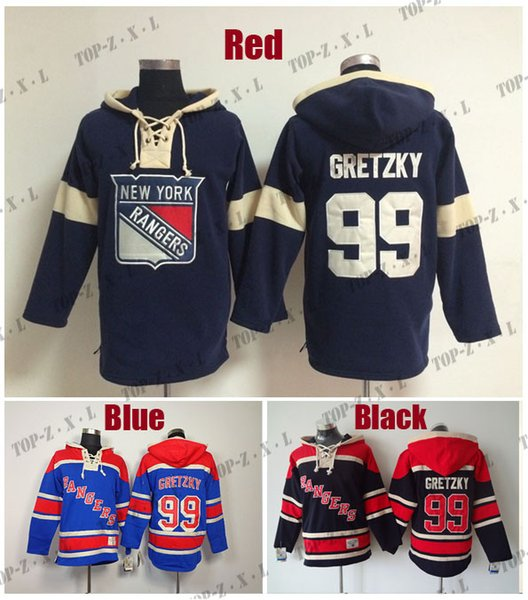 Factory Outlet, Best Quality Mens Old Time Hockey Hoodies Jersey New York Rangers 99 Wayne Gretzky Hoody Blue/Dark blue,Size:M-3XL