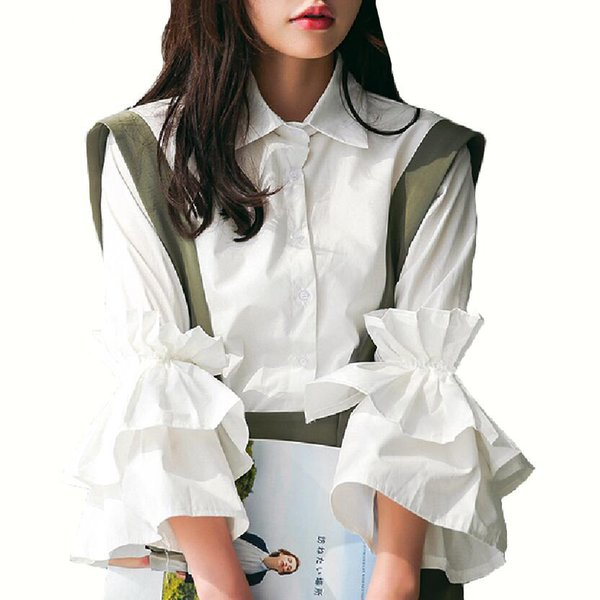 8a1e1819d38431 Vintage Bell Sleeve Shirts Womens Fashion Tier Ruffles White Tops Clothing  Ladies Retro Lapel Collar Flare