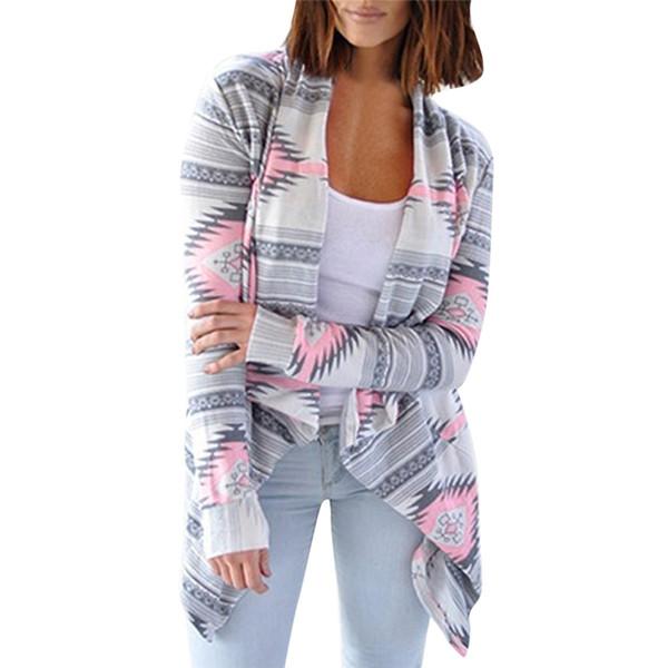 Harajuku Jacke Frauen Herbst Windbreaker Geometrische Print Strickjacke beiläufige lose Sexy Oversized Cardigan Jacken manteau femme