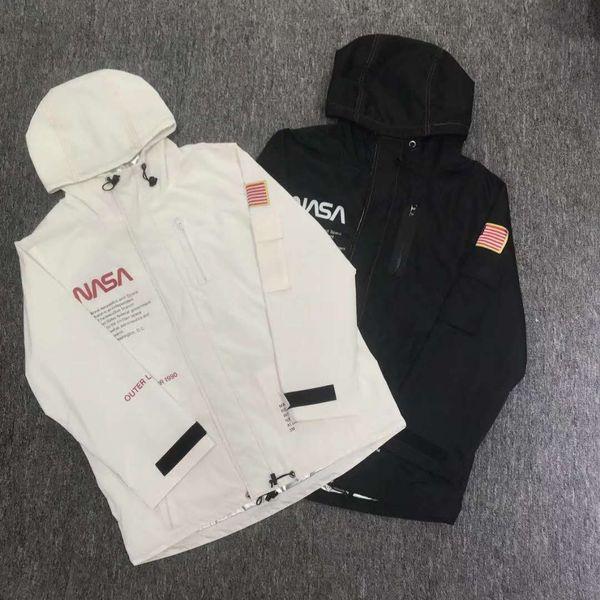 18FW HERON PRESTON NASA HIGH TECH PARKA Mens Astronaut Jacket Waterproof Jacket Fall Winter Hooded Jackets Windbreaker White Black Coat