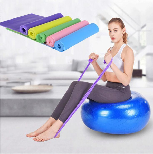 top popular 1.5M Nature Latex Yoga Band Exercises Resistance Bands Elastic Stretch Belt Fitness Training Band Rope Plates Expansion Band Wholesale 2019