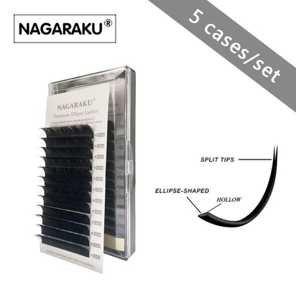 nagaraku new arrived 5 cases wholesale Flat Ellipse Eyelashes Extensions split tips, natural light false eyelashes thickness 0.20mm