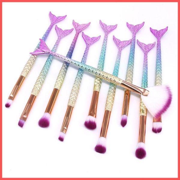 Envío gratis por ePacket 10 PCS Sirena Pinceles de maquillaje Set Foundation Blending Powder Eyeshadow Contour Concealer Blush Herramienta de maquillaje cosmético