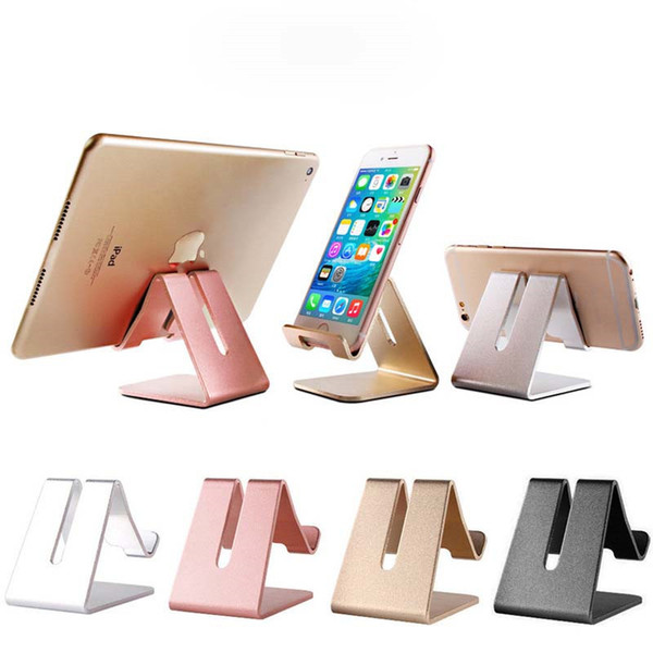For ipad 2017 Universal Aluminum Mobile Phone Tablet Holder Metal Desk shockproof charger stand Stand for iPhone x 7 7 plus For iphone 8