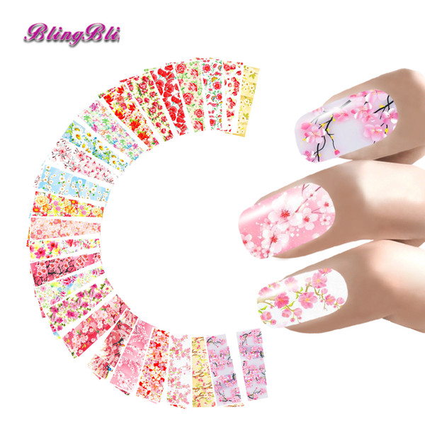 BlingBling 24 Sheets Nail Sticker Flower Water Decals Rose Peony Sakura Floral Design Nail Wrap For Valentine's Day Art