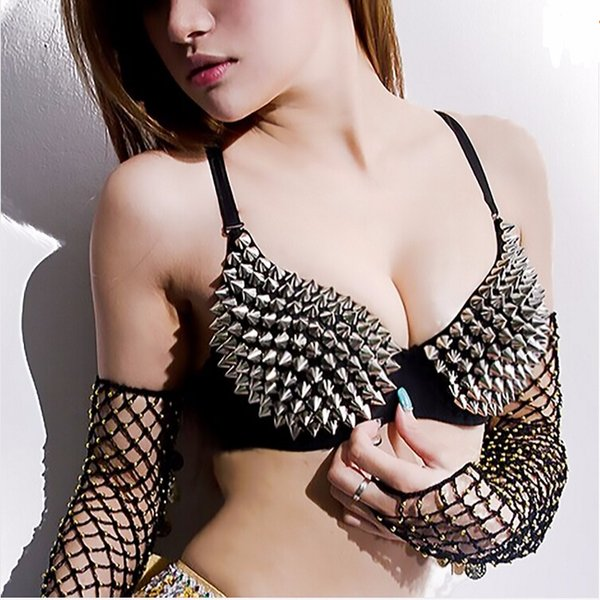 New Hot Sexy Bra Women Fashion Spike Stud Rivet Bra Gold Silver Lingerie Punk Party Wear Clubwear push up for women