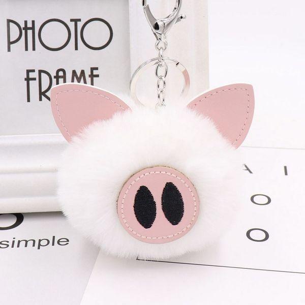 2018 new hot 13 color cute pig hair ball key chain animal plush key chain bag car pendant charm handbag plush pompom ring