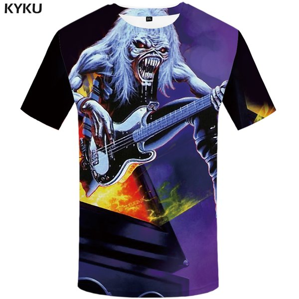 6c922281e8 Atacado Iron Maiden Tshirt Homens Música Camiseta Fogo Hip Hop Tee Camisas  Engraçadas de T Streetwear