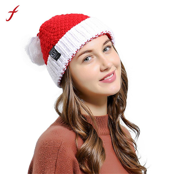 2017 KLV Famous Brand Women Baggy Warm Crochet Winter Girls Knitted Wool Skullies Casual Hat with Pompom Christmas Caps Hat