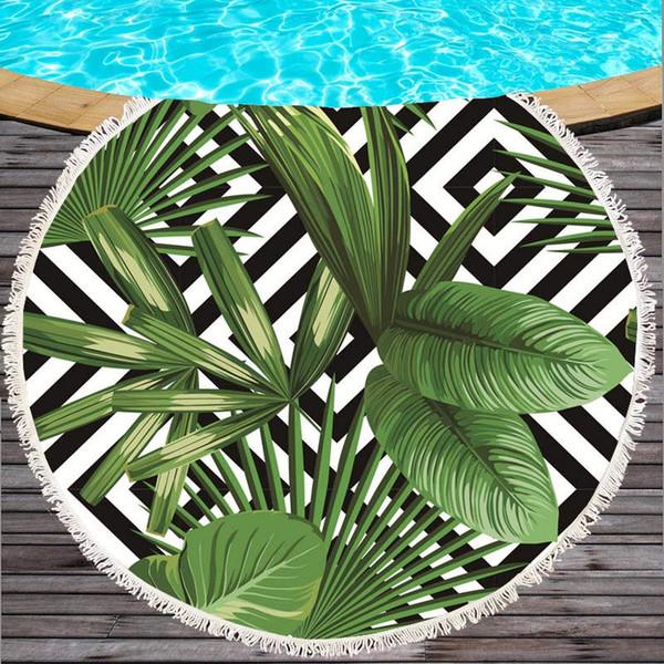 Nuovo Design Foglie Tropicali In Microfibra Tovaglioli Rotondi con Nappa 150 cm Grande Campeggio Picnic Yoga Mat Asciugamano toalha de praia