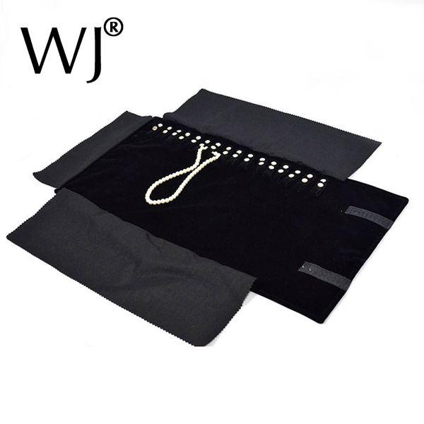 Black Velvet Organizer Jewelry Display Rolls Travel Storage Portable Bag Folding For Pendant Necklace Chain Stand Holder Case