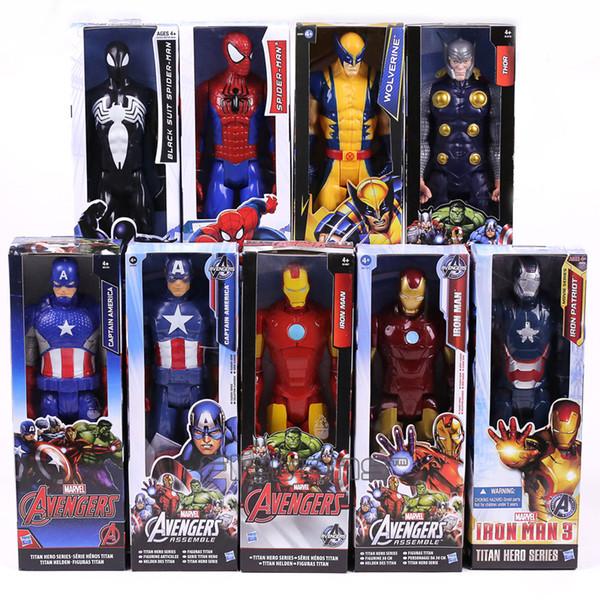 Marvel Titan Série Herói Capitão América Homem De Ferro Thor Homem Aranha Logan Patriota De Ferro Pvc Figura de Ação Toy Kids Presente 12 inch 30 cm