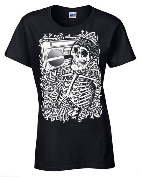Skeleton Boombox T-Shirt Womens Ladies retro music skull rock bones band