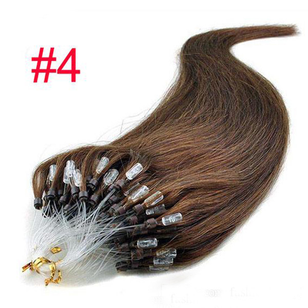 100 Stand Easy Loop Silicona Micro Ring Beads Extensiones de Cabello Humano Indian Remy Pelo Recto Negro Rubio Color Marrón 18 pulgadas 20 pulgadas