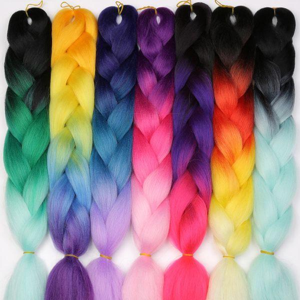 Ombre Kanekalon Jumbo Örgüler Sentetik Örgü Saç 60 Renk Mevcut 100g 24 Inç Saç Uzatma Pembe Mavi Yeşil Beyaz