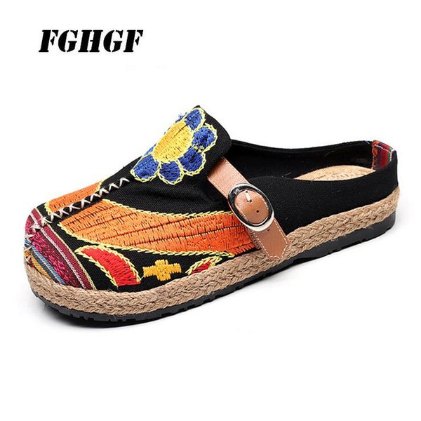 Old Beijing cloth shoes spring summer hemp sunflowers belt buckle head women's shoes antique women's shoes Big yards 35-44
