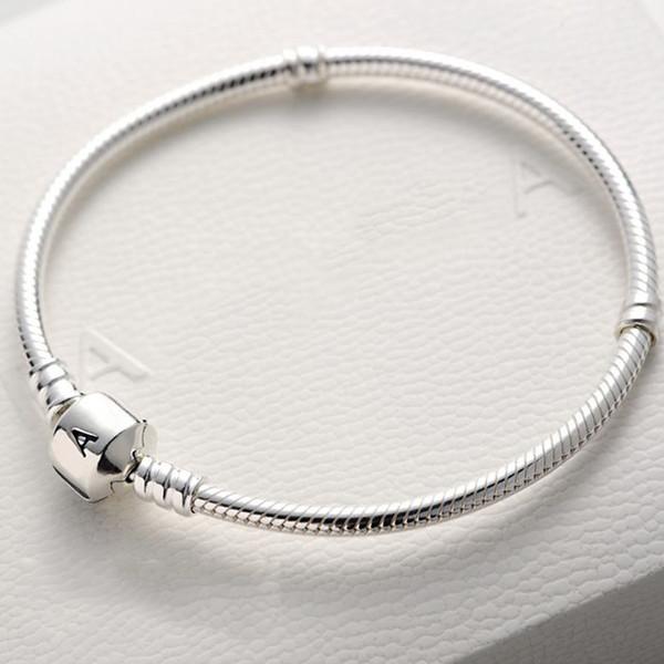 17 18 19 20 21 22CM Bracciale con ciondoli in argento sterling 925 Catena con ciondoli in argento con ciondoli Logo originale per bracciali donna Pandora