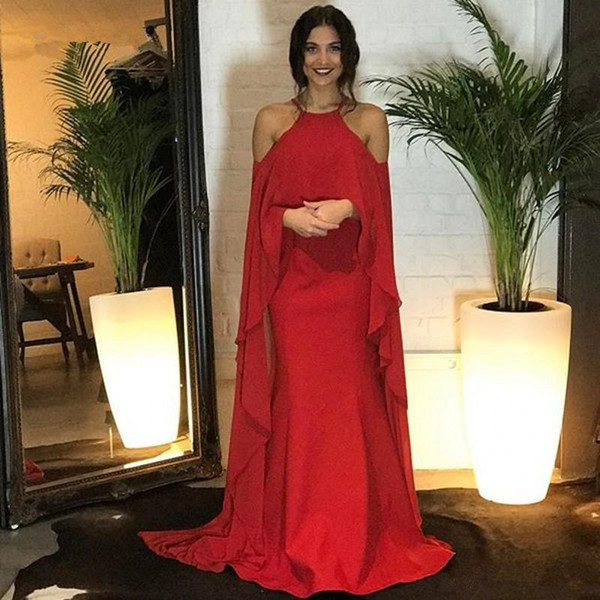 Red mermaid Evening Dresses off shoulder african ruffles chiffon wrap spaghetti straps Prom Long Dresses formal gown 2018