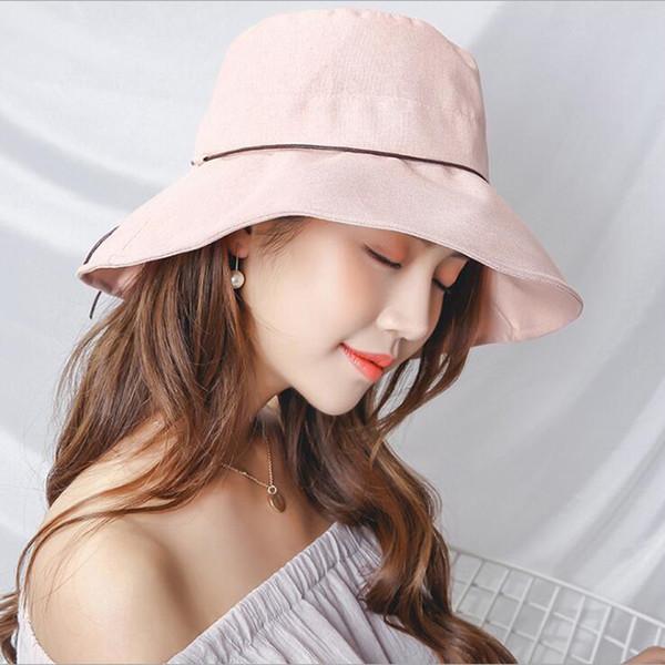 Stylish Summer Solid Linen Cotton hats for women chapeau femme wide Brim Foldable Anti UV sun hat Bucket visor verano Cap