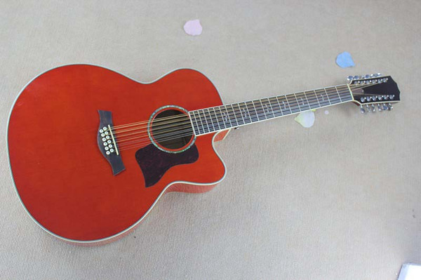 HOT Wholesale Spruce Solid 12 Strings Taylor orange red Acoustic Electric Guitar Free Shipping