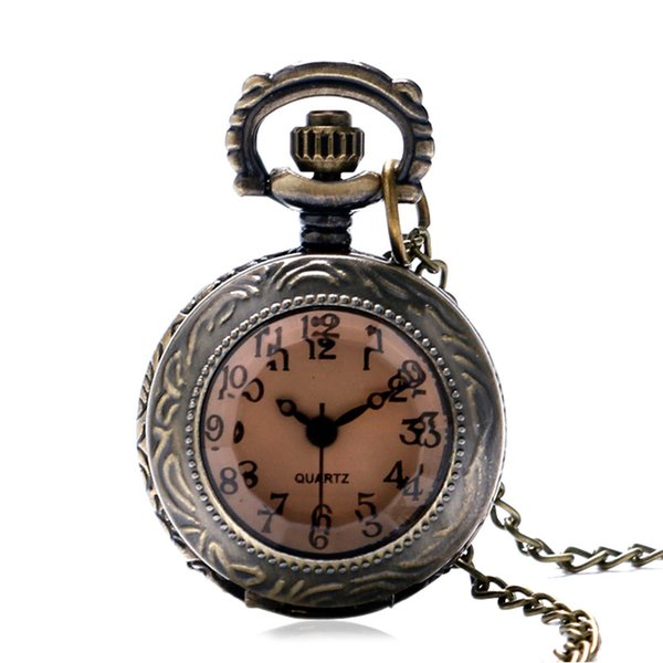 Fashion New Bronze Brown Glass Small Size Quartz Pocket Watch with Sweater Necklace Chain Xmas Gifts Women Girl