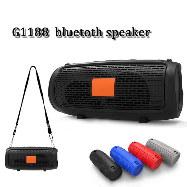 G1188 handfree crossbody portable bluetooth speaker wireless subwoofer stereo sports music player with microphone support FM SD card