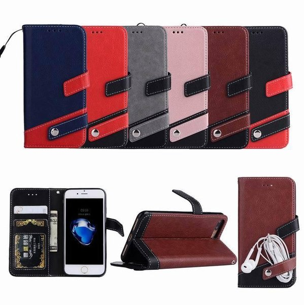 Cheap price Cool Hot Lychee splicing leather phone protective Case wallet Kickstand Cover For Samsung for iPhone 5 6 7 8 plus x for samsung